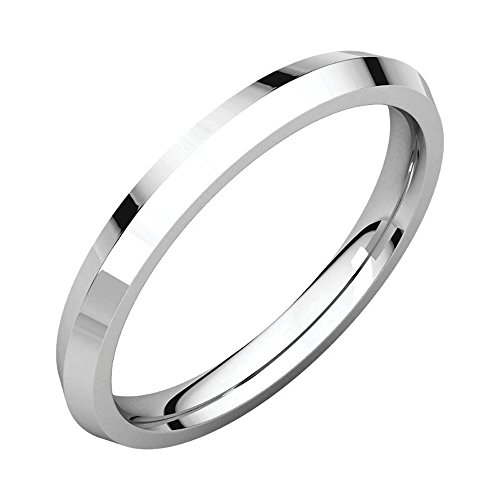 14k White Gold 2.5mm Knife Edge Comfort Fit Wedding Band Size - 5