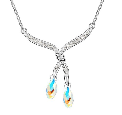 Purplelan-Studded With Swarovski Element Crystal white tear drop 18Inch Necklace Se6398