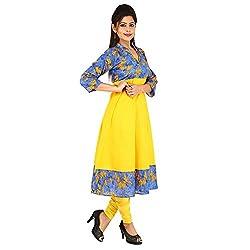 AnjuShree Choice Women's Cotton Denim Yellow Anarkali Kurta Kurti (X-Large)