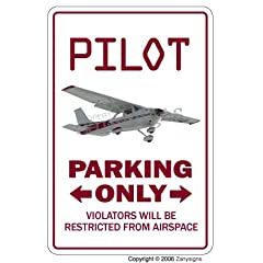 PILOT Sign parking signs air plane cessna fly gift