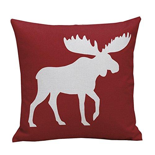 NITAN Baumwolle Leinen Dekokissen Fall Quadratisch Sofa Auto Dekorative Kissenbezug Kissenhülle Weihnachten 45 x 45cm - Weiß Elch Hirsch (Rot)
