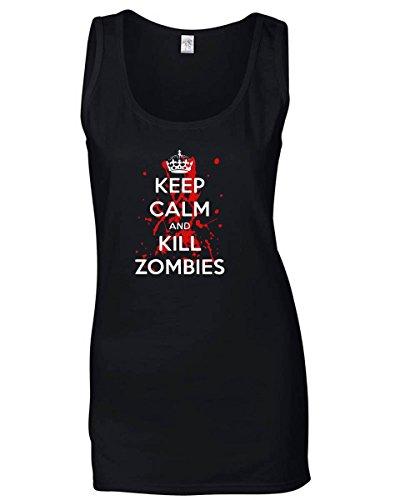 T-Shirtshock - Canottiera Donna TZOM0040 keep calm and kill zombies (3), Taglia L