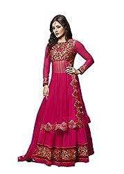 Sk Creation Pink Designer Neck embroidered Anarkali Suit