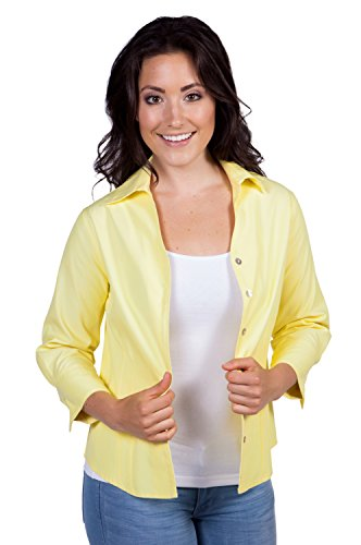 Women'S Silk Tops Button Blouse (Citrine Yellow, Large) Ws1001-Cty-L front-465115