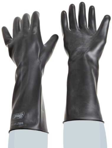 Showa Best 890 Unlined Viton Over Butyl Glove, Rolled Cuff, Chemical Resistant, 28 mils Thick, 14
