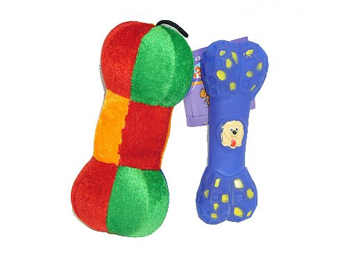 Dog Toy Lot — Plush Bone / Vinyl Bone Blue