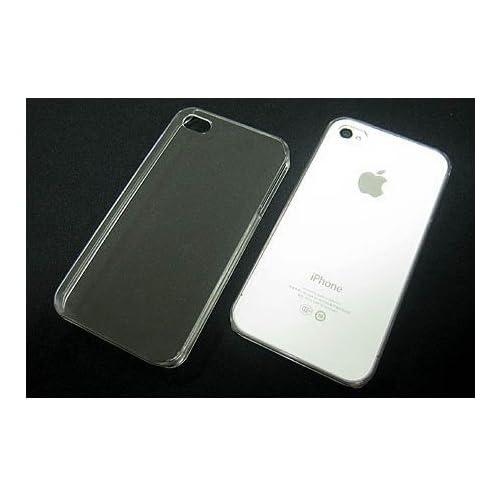 iPhone4 iPhone4S用プラスチックケースカバー 無地透明 スマホケース ストラップ用/貼り付け用イヤホンジャックピン付
