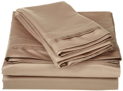 Egyptian Cotton 800 Thread Count Oversized Full Sheet Set Solid, Taupe back-1041681