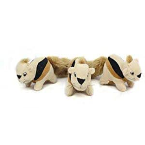 Kyjen PP01045 Squeakin' Animals Hide-A-Squirrel Replacement Dog Toys Squeak Toys 3-Pack, Small, Brown