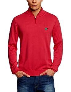 Club Green Eagle Men's Long Sleeve Half Zip Turtle Neck Cotton Jumper - Bright Rose, Small