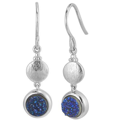 Sterling Silver Blue Drusey Quartz Drop Earrings