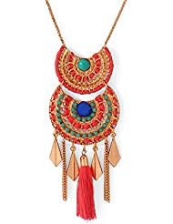 Voylla Gold Toned Tasselled Statement Necklace Adorned With Green Stone And Red Thread Beads