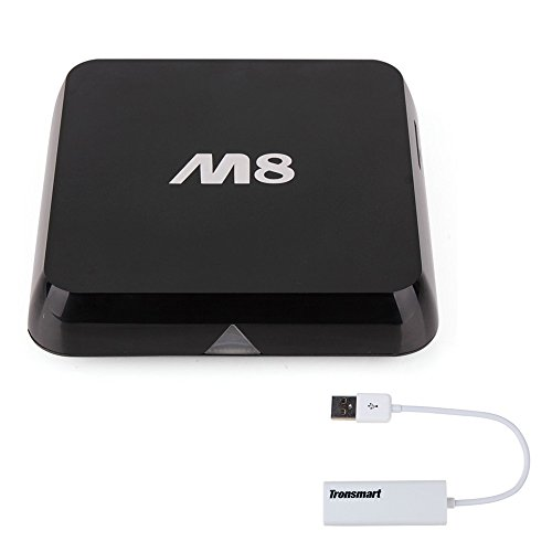 M8 Amlogic S802 Quad Core Cortex A9 2.0GHz Bluetooth 2.4G/5G Dual Wifi XBMC Streaming Player 4K Hdmi Android 4.4 KitKat OS TV Box with Tronsmart RJ45 Ethernet Adapter by Vensmile-TECH (M8 Quad Core compare prices)