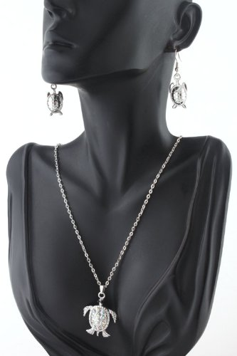 Ladies Silver with Clear Ab Iced Out Sea Turtle 20 Inch Adjustable Chain Necklace & Matching Earrings Jewelry Set