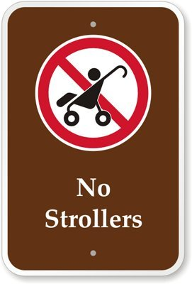 """No Strollers (With Graphic) Sign, 18"""" X 12"""""""