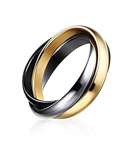 Stainless Steel Fashion Triple 3 Tone Interlocked Trinity Russian Wedding Rings for Women, Size 7