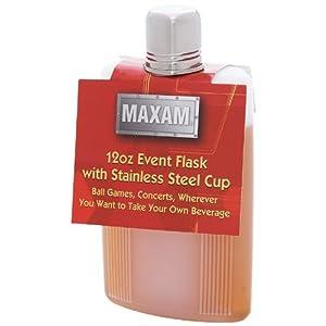 Maxam 12Oz Plastic Flask W Ss Cup