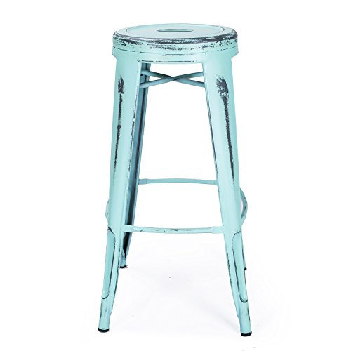 Adeco 30-inch Metal Stools, Vintage Barstool, Antique Light Blue, set of 2 4