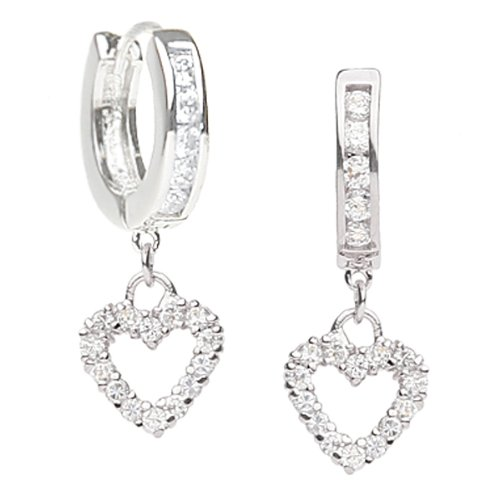 Studio 925 Dancing Heart CZ Sterling Silver Huggie Hoop Earrings
