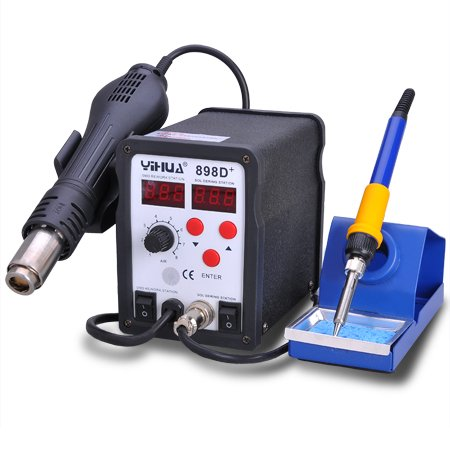 SMD Rework LCD Digital Display Desolder Station Hot Air 640w Gun & Soldering 60w Iron w/ Tools Accessories 110v Electric Power Unit Lead Free Pro Work Bench