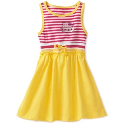 Hello Kitty Little Girls 4 6X Tank Dress with Rhinestones, Aspen Gold, 6X