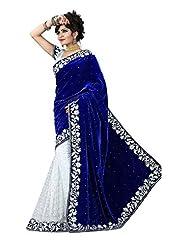 SRP Fashion Selection Women's Velvet Saree (SRP-Royal Blue)