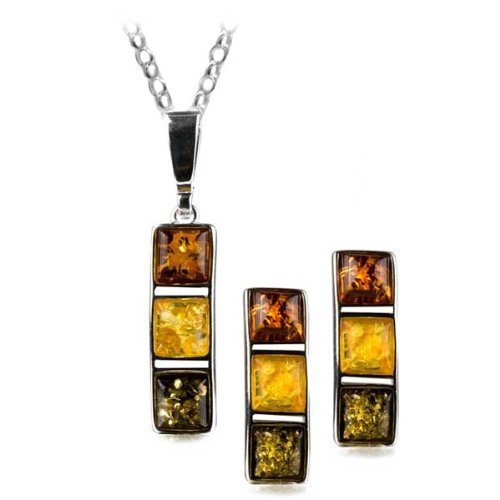Multicolor Amber Sterling Silver Rectangular Stud Earrings Necklace Set Rolo Chain 18 Inches