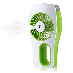 TFSeven Handheld USB Mini Misting Cooling Fan Humidifier 3 Speeds Portable Replenishment Fan Powered by 18650 Rechargeable Battery for Hot Summer Outdoor Travelling Office Baby Use (Green)
