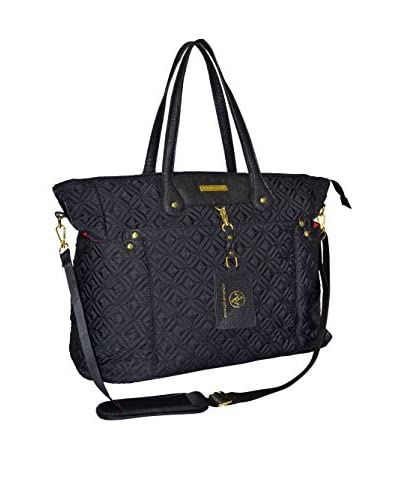 Adrienne Vittadini Quilted Nylon Business Tote, Black