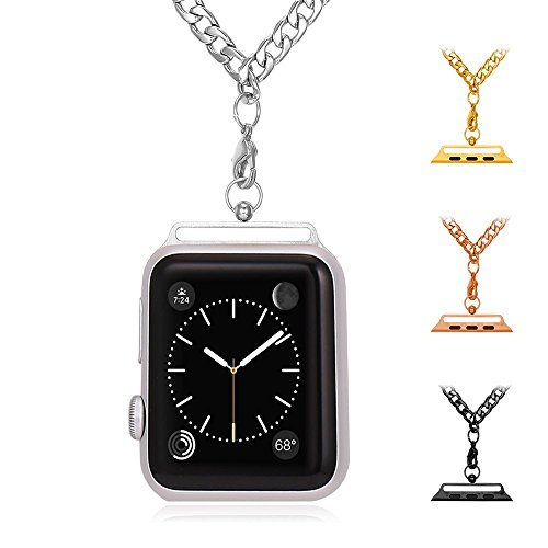 Bandmax Apple Watch 38MM Replacement Chain Necklace Band Stainless Steel Cuban Link Chain Strap for Apple Watch Series 2/Series 1 38MM All Models (Silver)