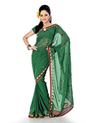 Designersareez Women Faux Georgette Embroidered Deep Green Saree With Unstitched Blouse(764)