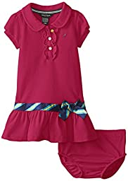 Nautica Baby Girls\' Pique Polo Dress with Gold Buttons, Medium Pink, 18 Months