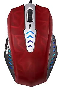Perixx MX-3000R, Programmable Gaming Laser Mouse - Avago 8200dpi ADNS 9800 Laser Sensor - Omron Micro Switches - 8 Programmable Button -?Weight Tuning Cartridge - Ultra Polling 1000HZ - 3D Red Surface