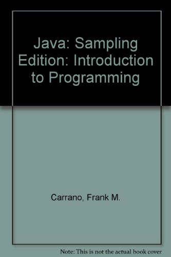 Java: Introduction to Problem Solving and Programming (5th Sampling Edition)