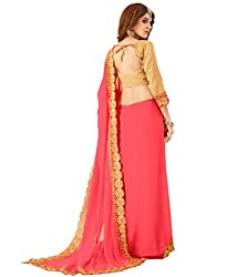 3G9 shop Designer Pink Georgette Embroidered Saree With Blouse Dress Material