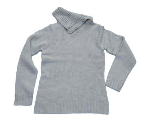 Ladies Silver-Blue Knitwear Sweater  Flap Over
