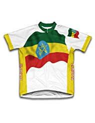 Ethiopia Flag Short Sleeve Cycling Jersey for Women