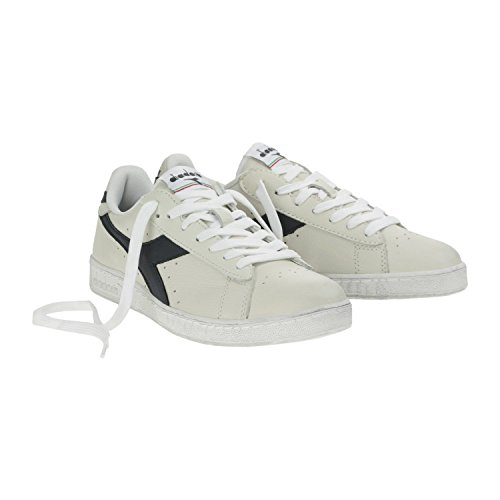 Diadora Game L Waxed, Scarpe Low-Top Unisex Adulto, Bianco (Bianco/Blu Mar Caspio), 45 EU