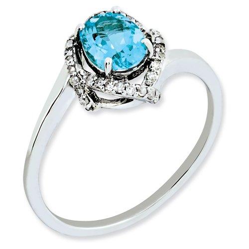 Sterling Silver Diamond & Light Swiss Blue Topaz Ring