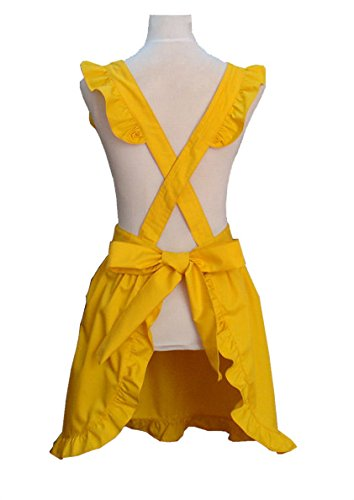 Hyzrz Cute Lovely Cotton Retro Kitchen Cooking Aprons for Women Girls Vintage Baking Sexy Victorian Apron with Pockets for Gift (Yellow) 1