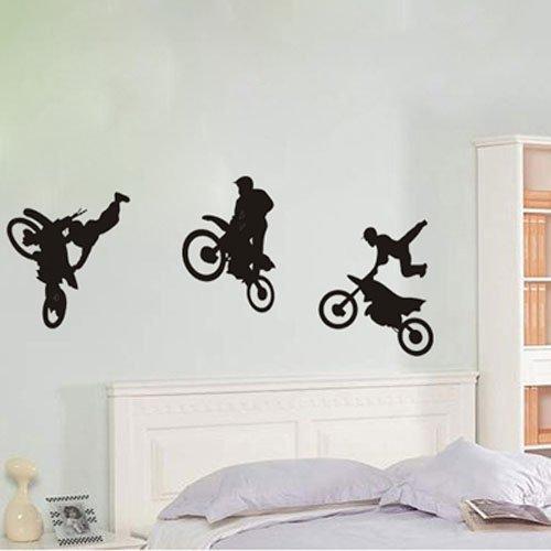 Motor Cross Motorbike Wall Art Sticker Wall Decal Removable Vinyl Wall Sticker Mural Decal Art DIY