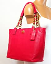 Hot Sale Coach Madison Leather Zip Tote Handbag 20466 Punch Pink