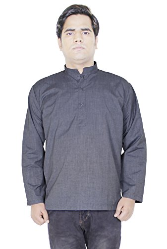 Mens Fashion Cotton Short Kurta Button Up Long Sleeve T-Shirts Tees -Size M