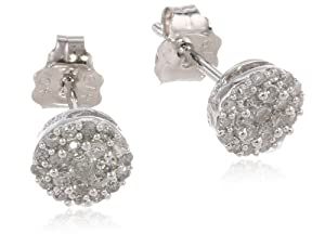 10k White Gold Round Diamond Cluster Earrings (1/4 cttw, I-J Color, I2-I3 Clarity)