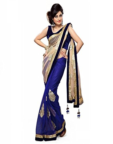 Temptingg Fashions Blue & Beige Net Work And Lace Border Saree
