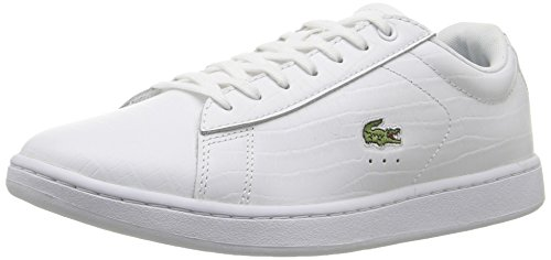 Lacoste Women's Carnaby Evo G316 8 Fashion Sneaker, White/Blue, 6 M US