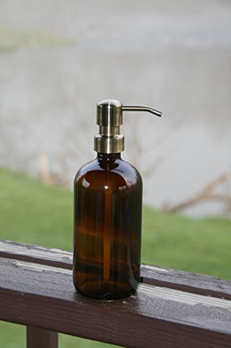 Amber glass pint jar soap dispenser with brass metal pump for Brown glass bathroom accessories