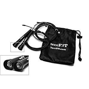 Speed Rope - 10 Ft Best Adjustable Ultra Speed Cable Jump Rope for Conquering Double Unders || Carrying Bag and Extra Cable || 5 YEAR Warranty || For Crossfit WODs, MMA, Boxing, Cardio Exercise and Fitness || FREE 'How To Improve Your DUs' Manual