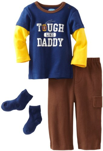 Bon Bebe Baby-Boys Infant Tough Like Daddy 3 Piece Pant Set, Navy/Brown/Yellow, 24 Months front-1076286