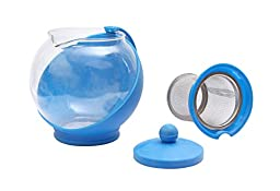 Fu Global Best Value Economic Tea Maker with Removable Infuser, Safe Glass Pot Body, Plastic Handle, Easy To Clean (BLUE)